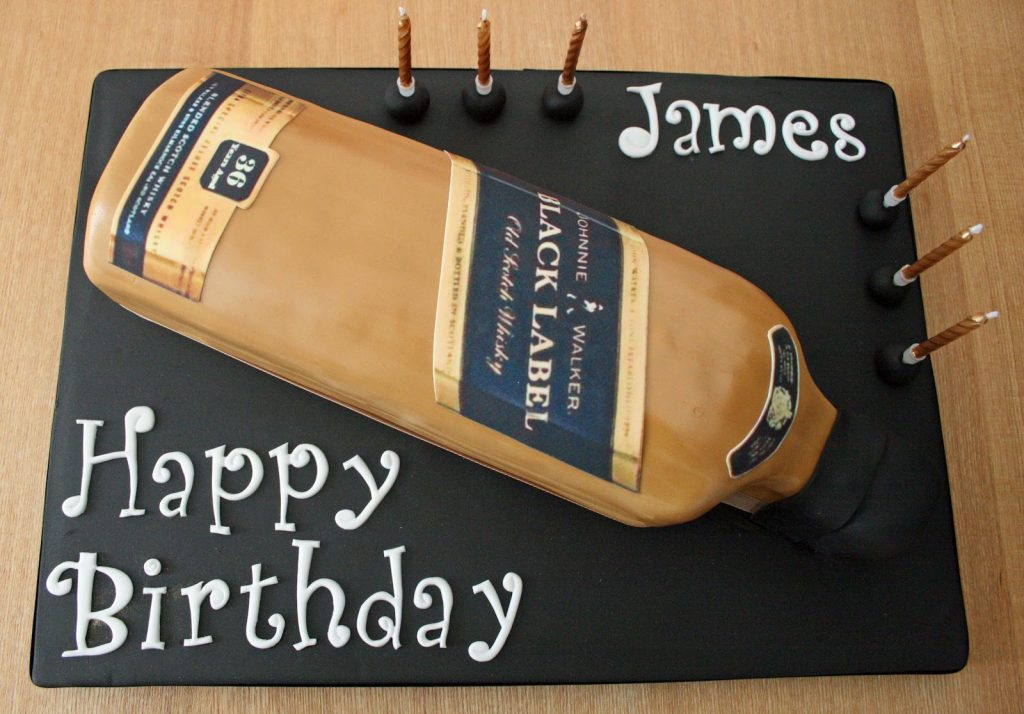 Liquor bottle cake