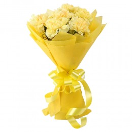 Zesty Yellow Carnations Bouquet