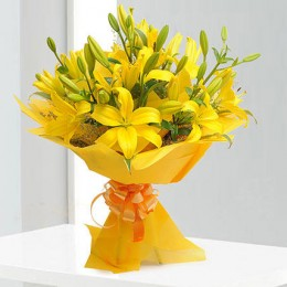 Bright Yellow Asiatic Lilies