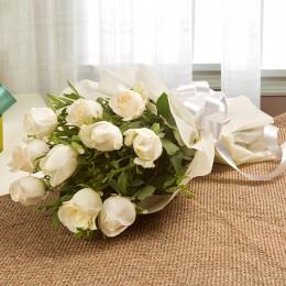 Elegant White Roses Bouquet