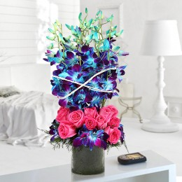 Roses And Orchids Vase Arrangement