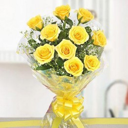 10 Bright Yellow Roses Bouquet