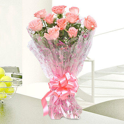 10 Charming Pink Roses Bouquet