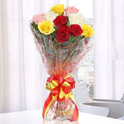 Magical Multicolored Roses Bouquet