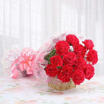 12 Glorious Pink Carnations Bouquet