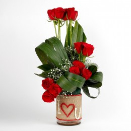 Red Roses Glass Vase Arrangement I Love You