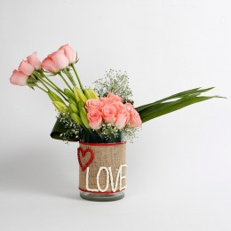 Baby Pink Roses & Yellow Lily Buds Glass Vase Arrangement