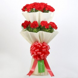 Beautiful 2 Layered Red Carnations Bouquet