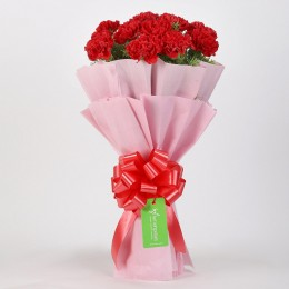 Beautiful 12 Red Carnations Bouquet