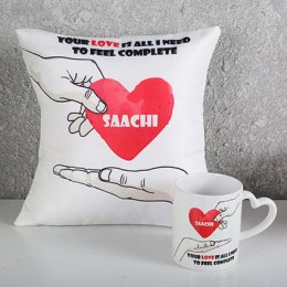 Personalized White Cushion N Mug Combo
