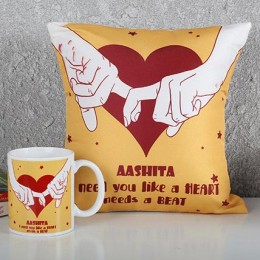 Personalized Heart Cushion N Mug Combo