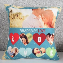 Personalized Blue Love Cushion