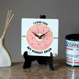 Personalised Donut MDF Table Clock
