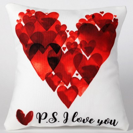 Valentines P S I Love You Printed Cushion