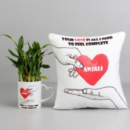Bamboo Plant in Personalised Love Mug with Love Cushion