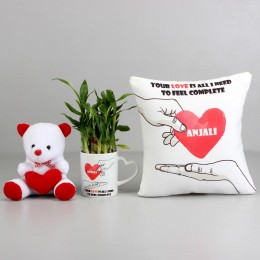 2 Layer Bamboo Plant with Love Cushion & Teddy
