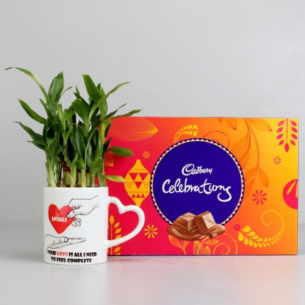 2 layer Lucky Bamboo Plant with Cadbury Celebrations