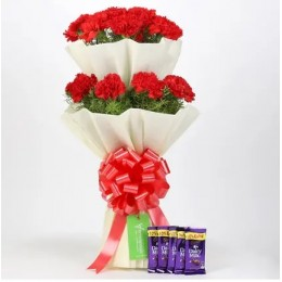20 Red Carnations Bouquet & Cadbury Dairy Milk