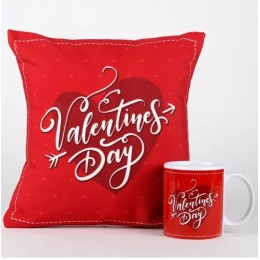 Valentines Day Heart Mug & Cushion Combo