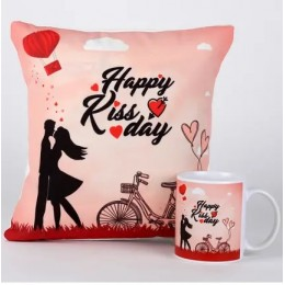 Happy Kiss Day Mug & Cushion Combo