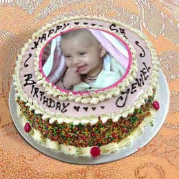 2kg Photo Cake Vanilla Sponge Eggless