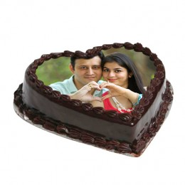 Heart Shape Photo Chocolate Cake  Eggless