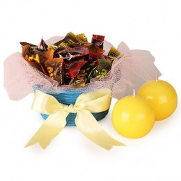 Jelly Candy N Candle In Basket
