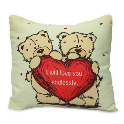 Cute Teddy With Message Cushion