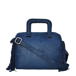Side Fringe Blue Sling Bag