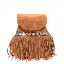 Tribal Lace And Fringe Tan Backpack