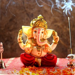 Lord Ganesha Idol With Red Dhoti