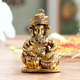 Golden Antique Ganesha Tabla Idol