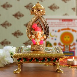 Lord Ganesha Idol On Golden Chatri Singhasan