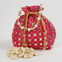 Traditional Mirror Work Pink Potli of Cashew Nuts
