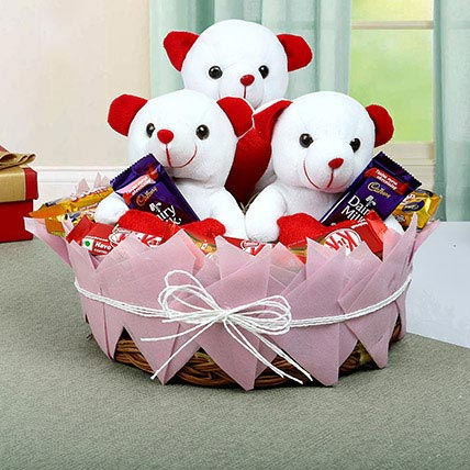 Teddy and Chocolate Basket