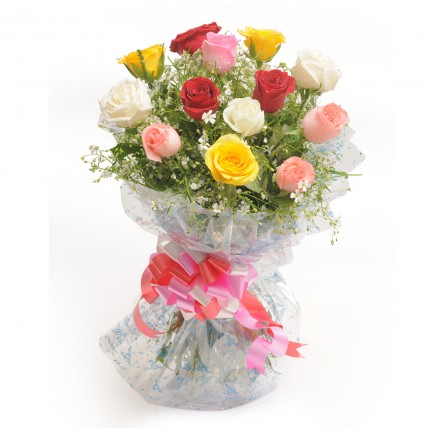 Colourful Mixed Roses Bouquet