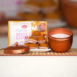 Besan Ladoo 400g With Fragrant Candle Big