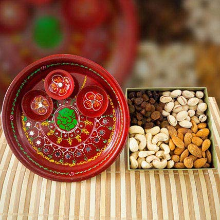 Painted Pooja Thali With Mix Dry Fruits