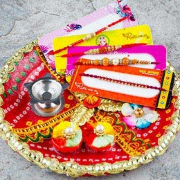 Hamara Parivar Four Rakhi Set with Puja Thali