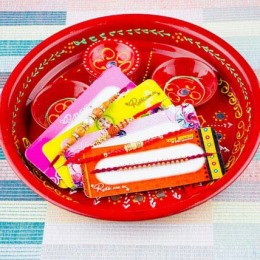 Four Rakhi With Traditional Thali