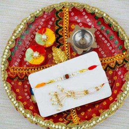 Dil ka Rishta Rakhi Set with Red Puja Thali