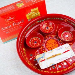 Aussie Bhai Rakhi with Soan Papdi and Traditional Thali