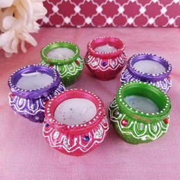 Set of 6 Colorful Diyas