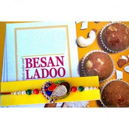 Colourful Rakhi with Besan Ladoo