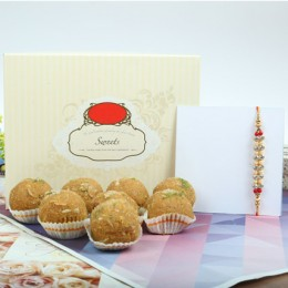 Ethnic Rakhi With Besan Laddu