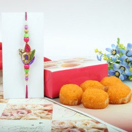 Beautiful Rakhi With Mothichur Laddu