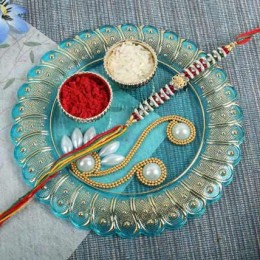 Beads Thread Rakhi with Pooja Thali