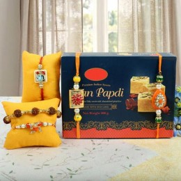 5 Rakhis With Soan Papdi