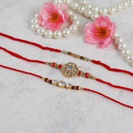 American Diamond Rakhi Set