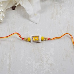 Yellow Diamond Stone Rakhi